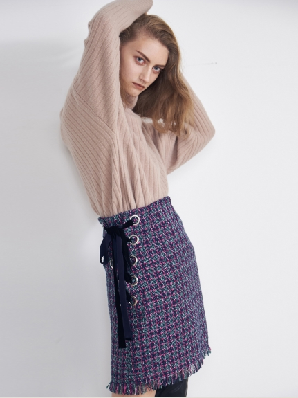 格紋緊身繫帶短裙