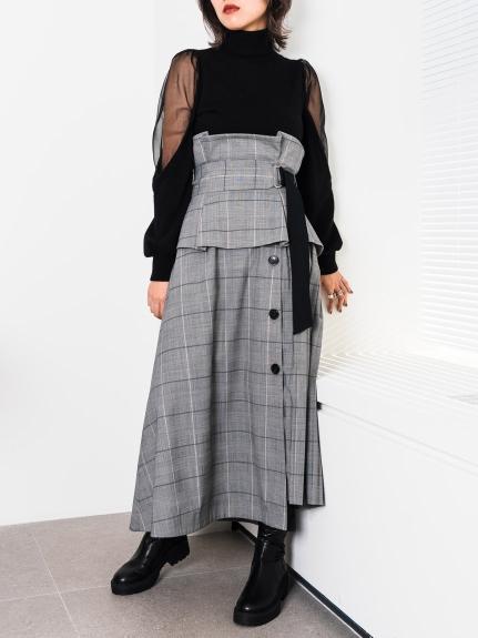 腰帶雙層高腰長裙