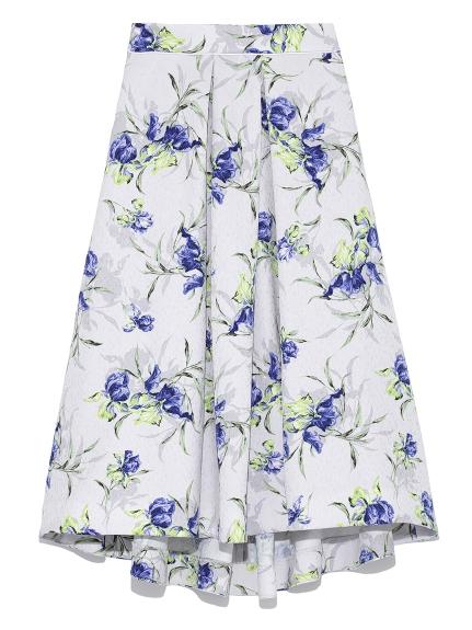 花朵印花打褶中長裙