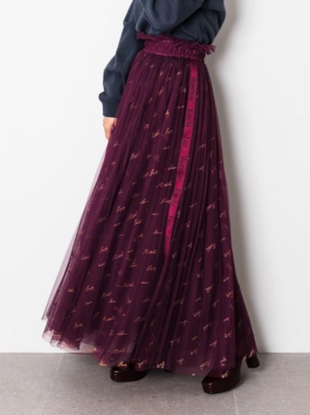 LOGO刺繡薄紗長裙