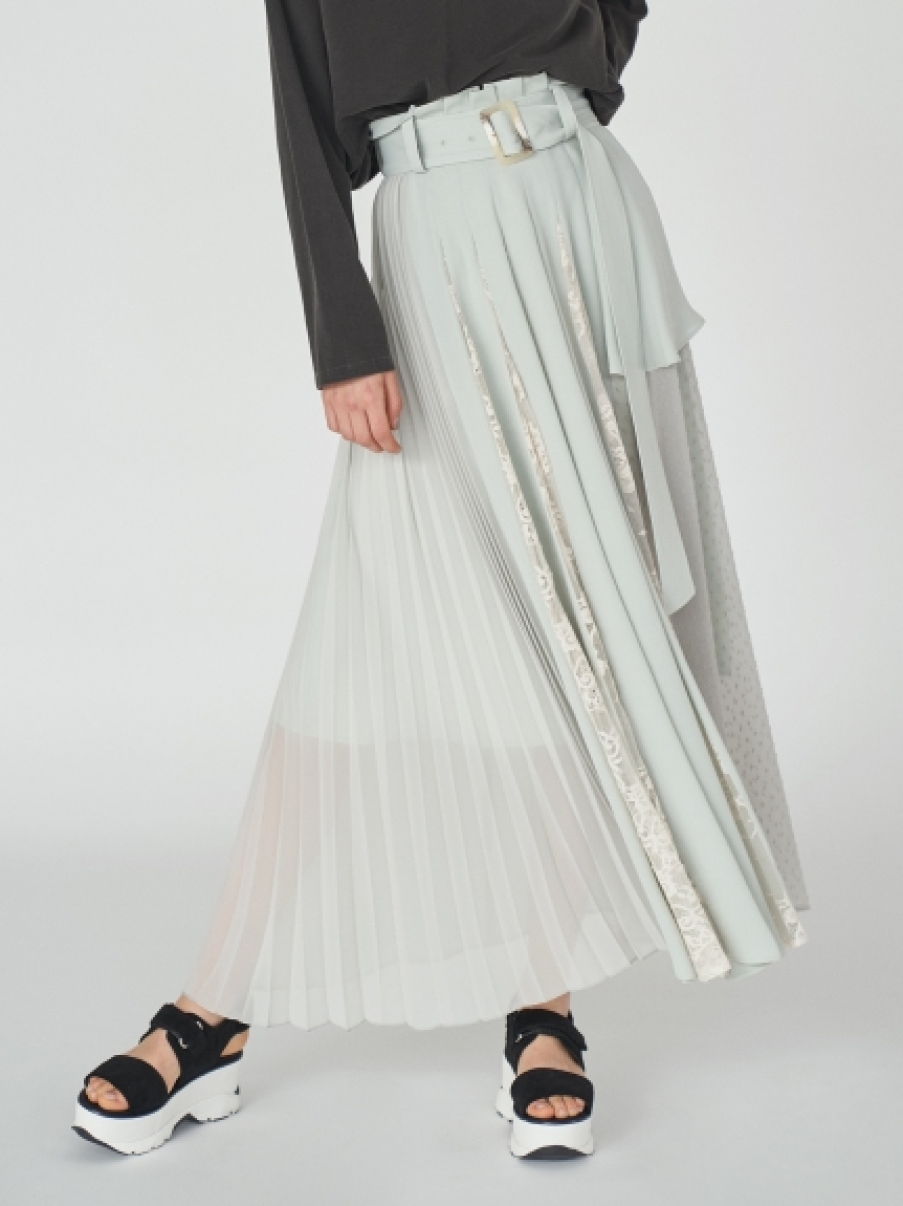 百摺拼接蕾絲腰帶長裙