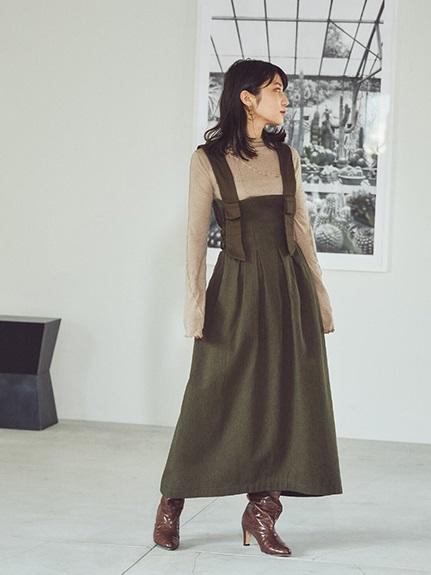 軍裝風羊毛吊帶裙