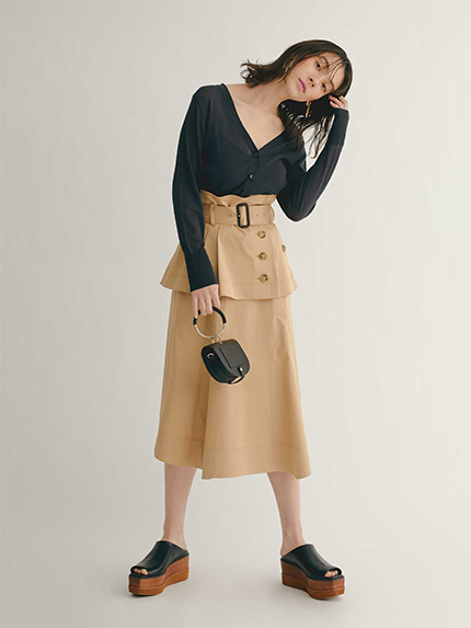 寬襬風衣式中長裙