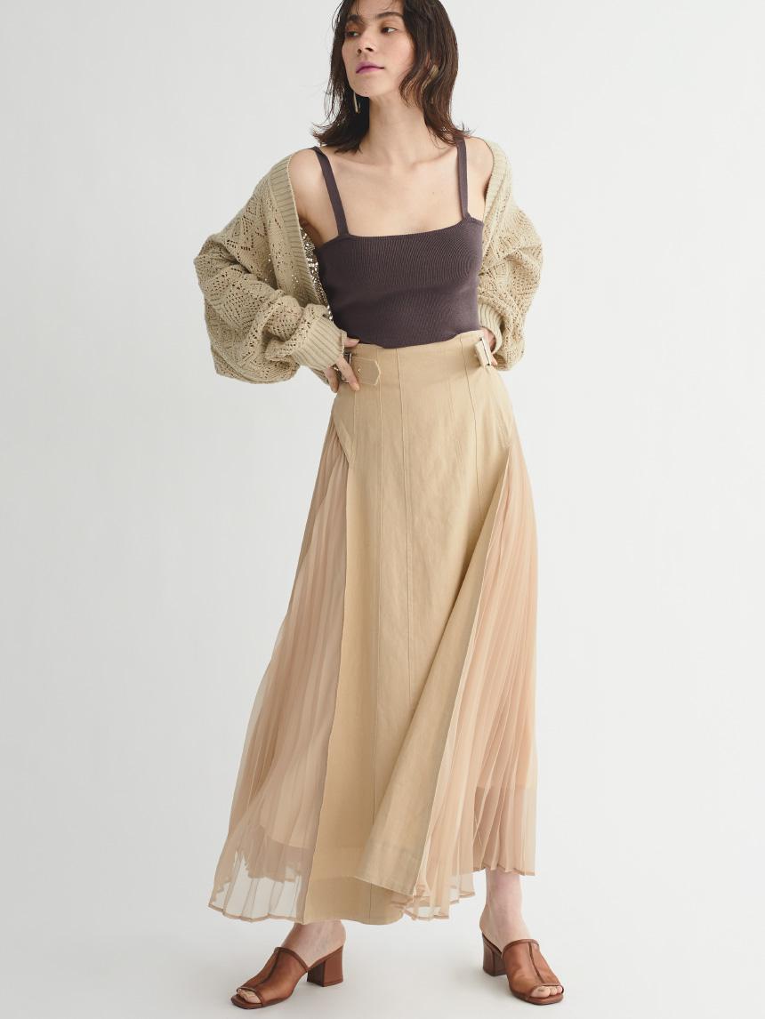側拼接百褶風衣裙