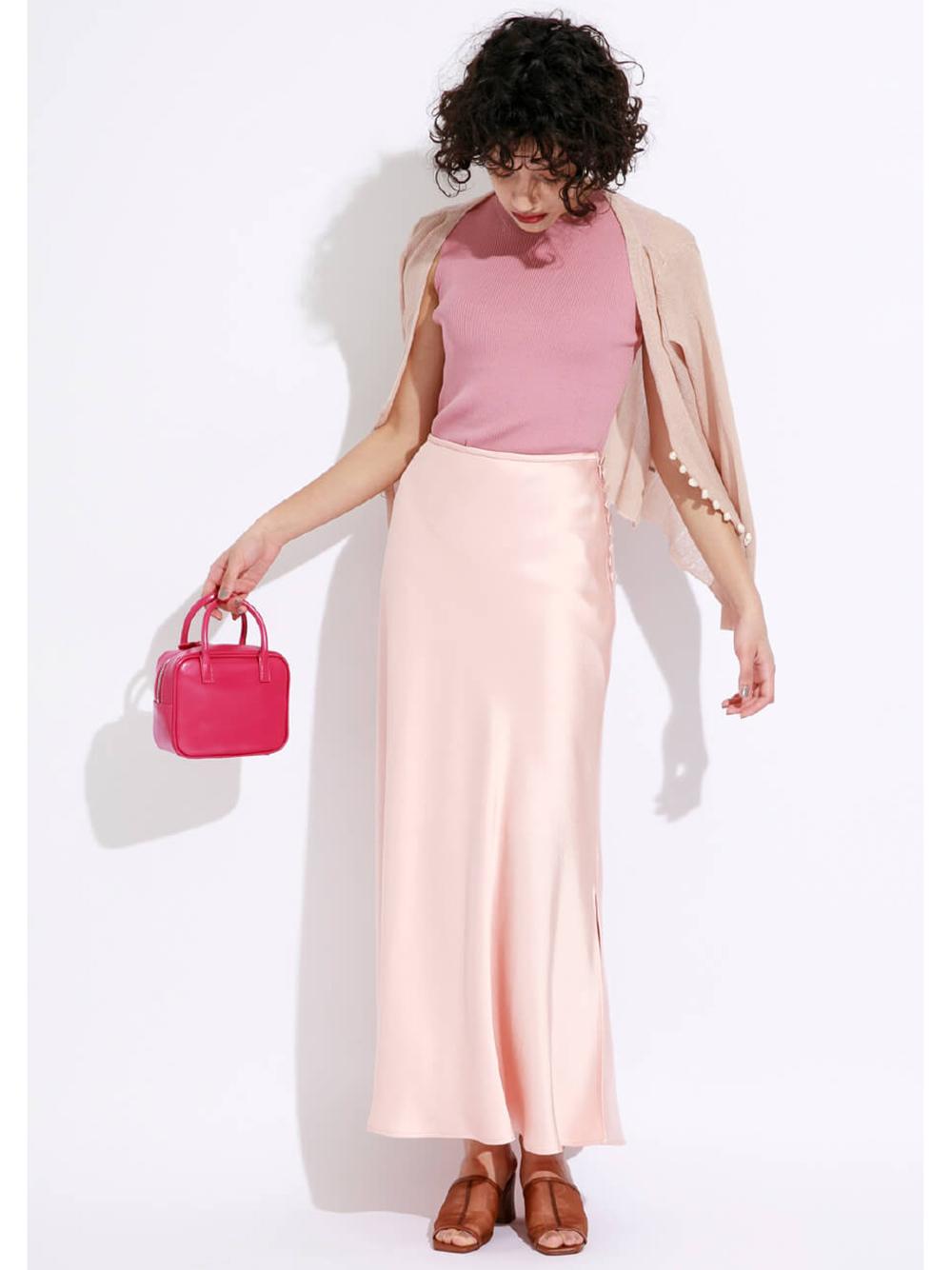 緞面長窄裙