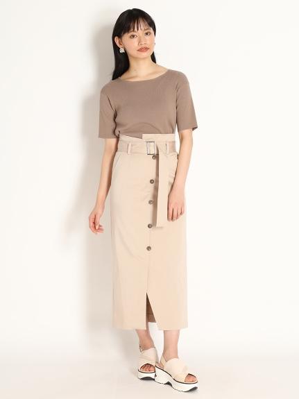 不對稱開衩窄裙