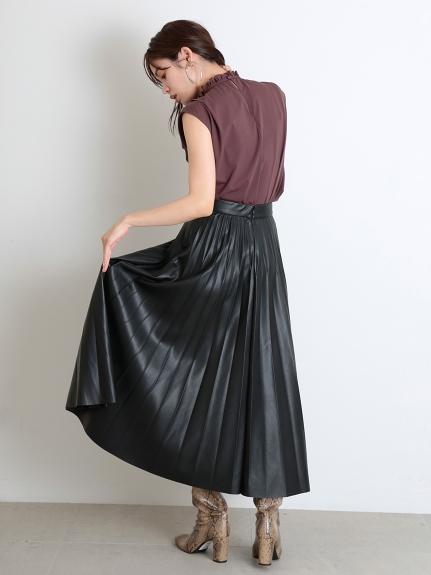 皮革百褶長裙