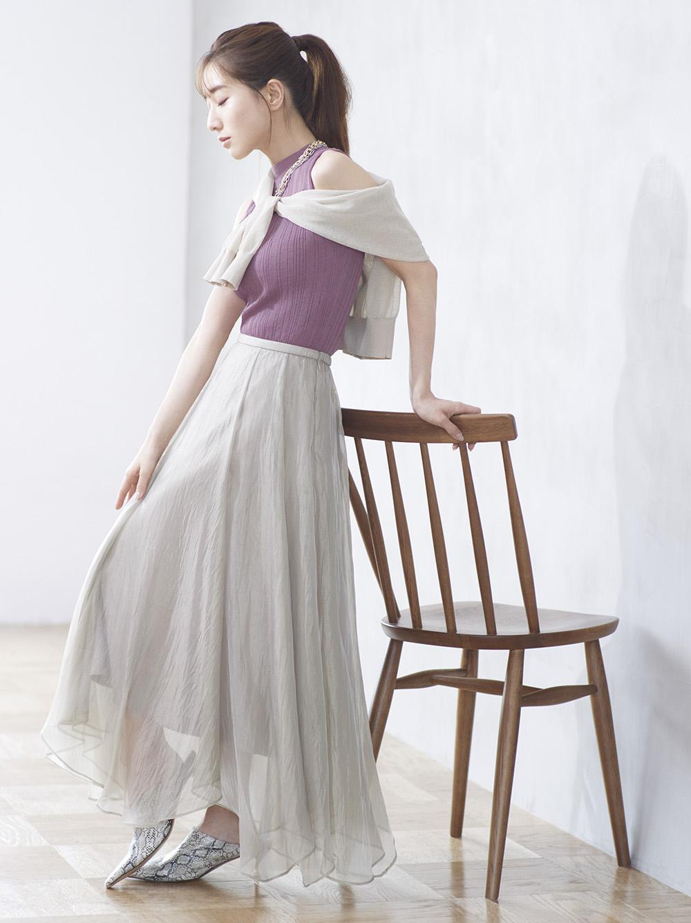 絲光傘襬長裙