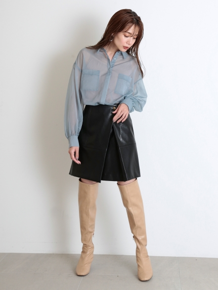 皮革風短裙