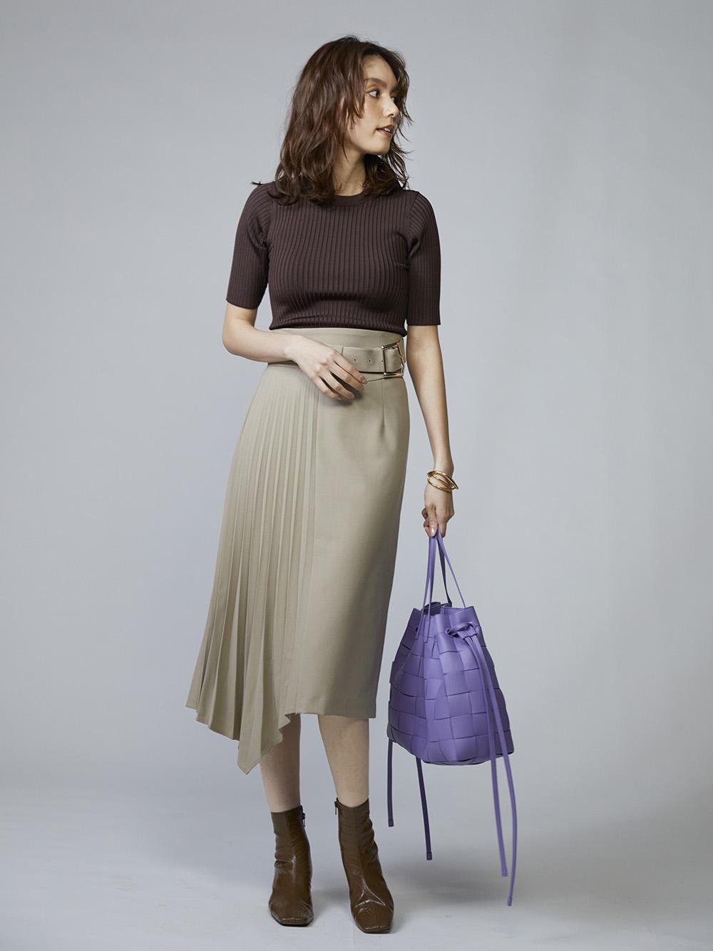 不對稱百褶長窄裙