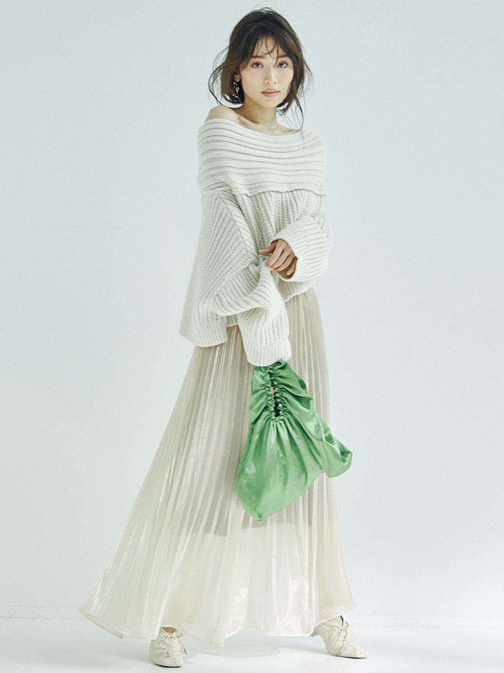 光澤雪紡百褶裙