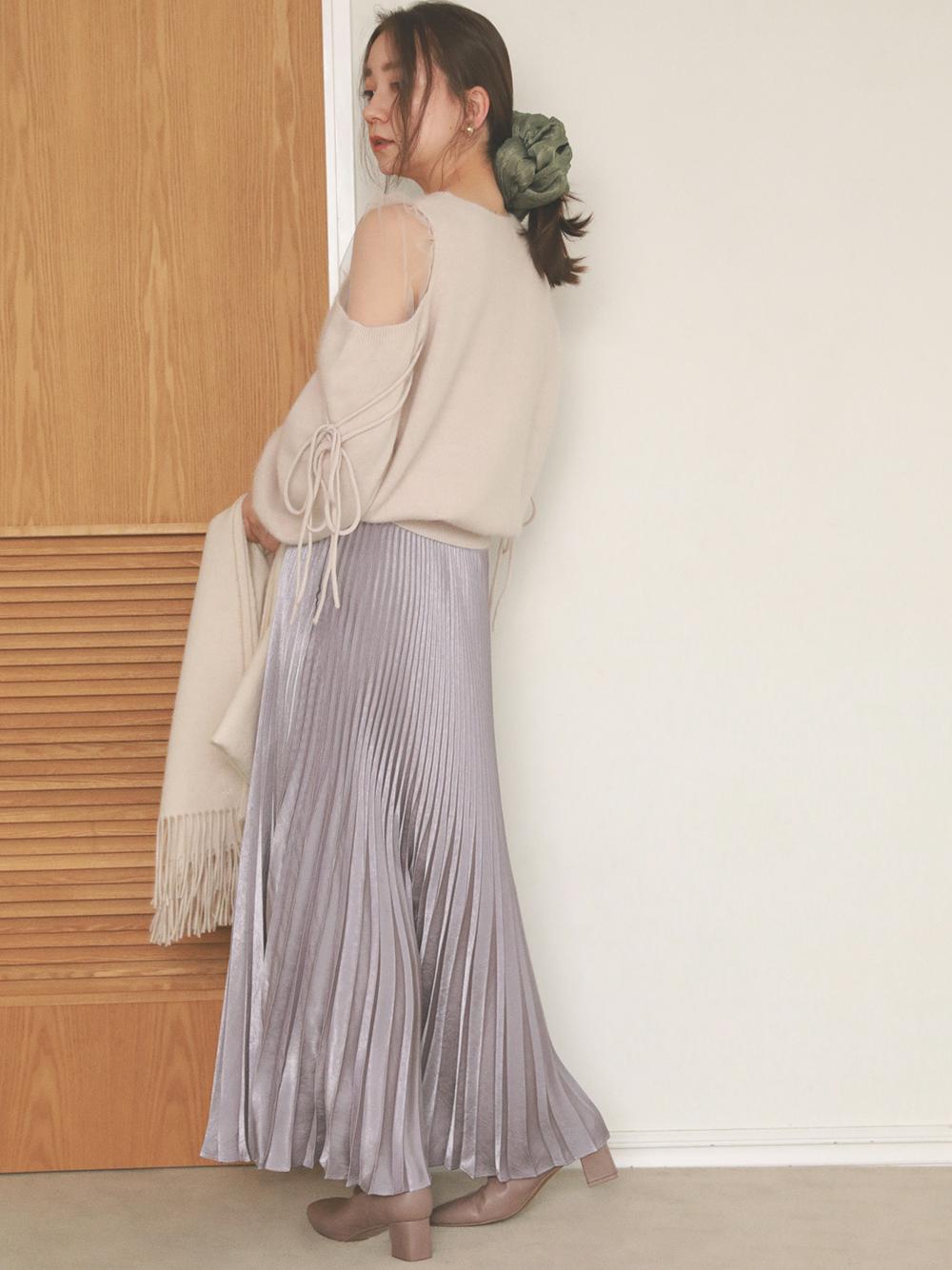 閃耀光澤百褶長裙