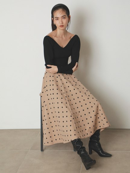 圓點印花傘襬長裙