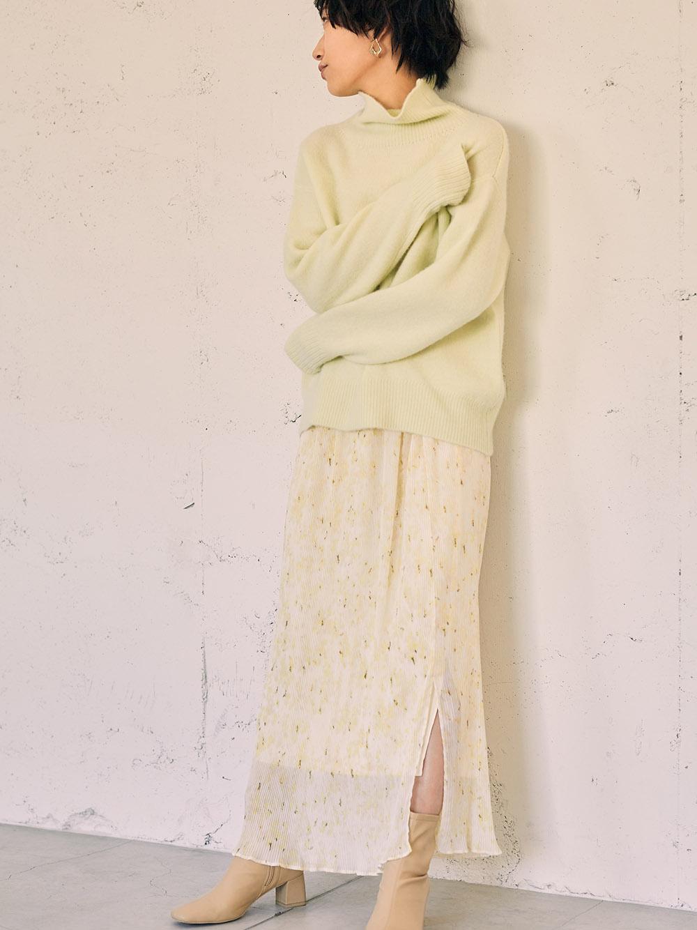 細褶雪紡印花長窄裙
