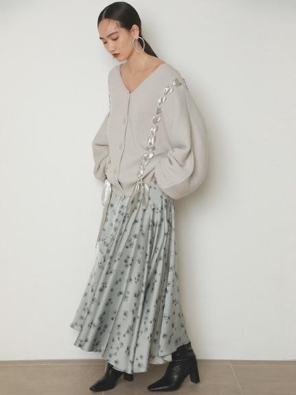 小碎花緞面長裙