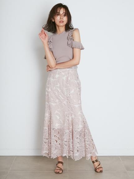 剪裁蕾絲魚尾裙