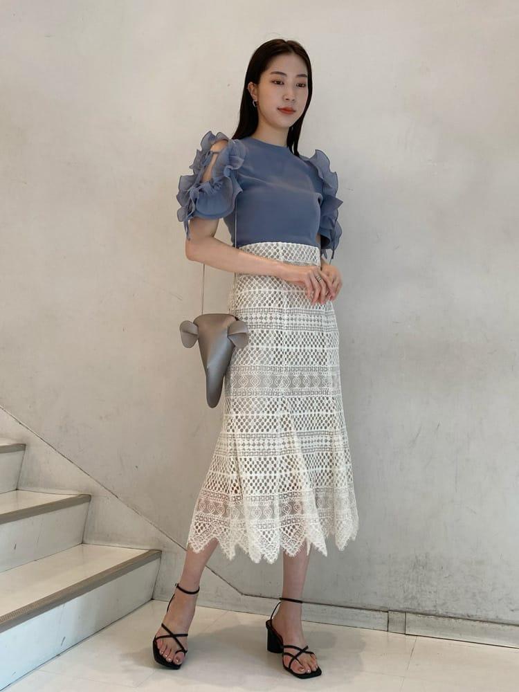 不規則裙襬蕾絲魚尾裙