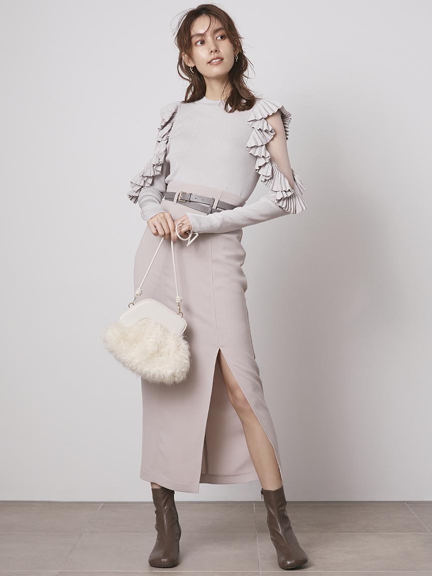 正面開衩窄版長裙