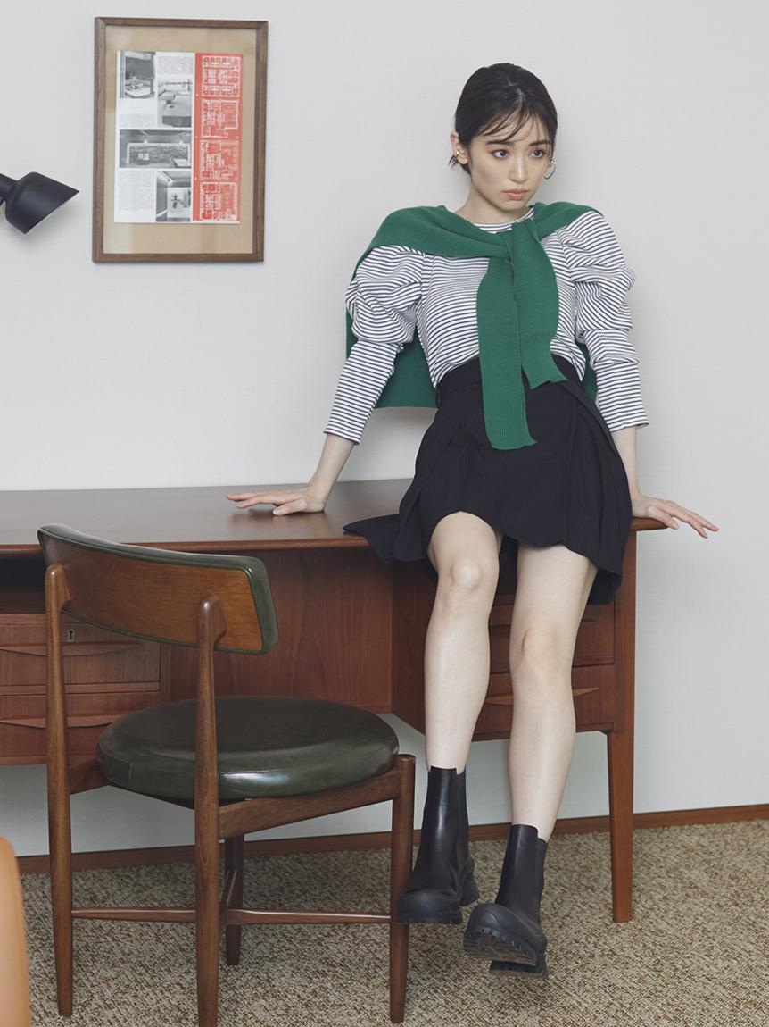 腰帶裝飾格紋短裙