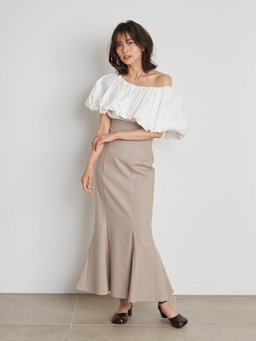 高腰修身魚尾長裙