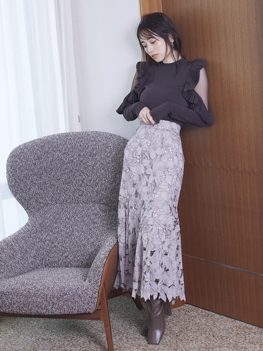 Sustainable雕花蕾絲魚尾裙