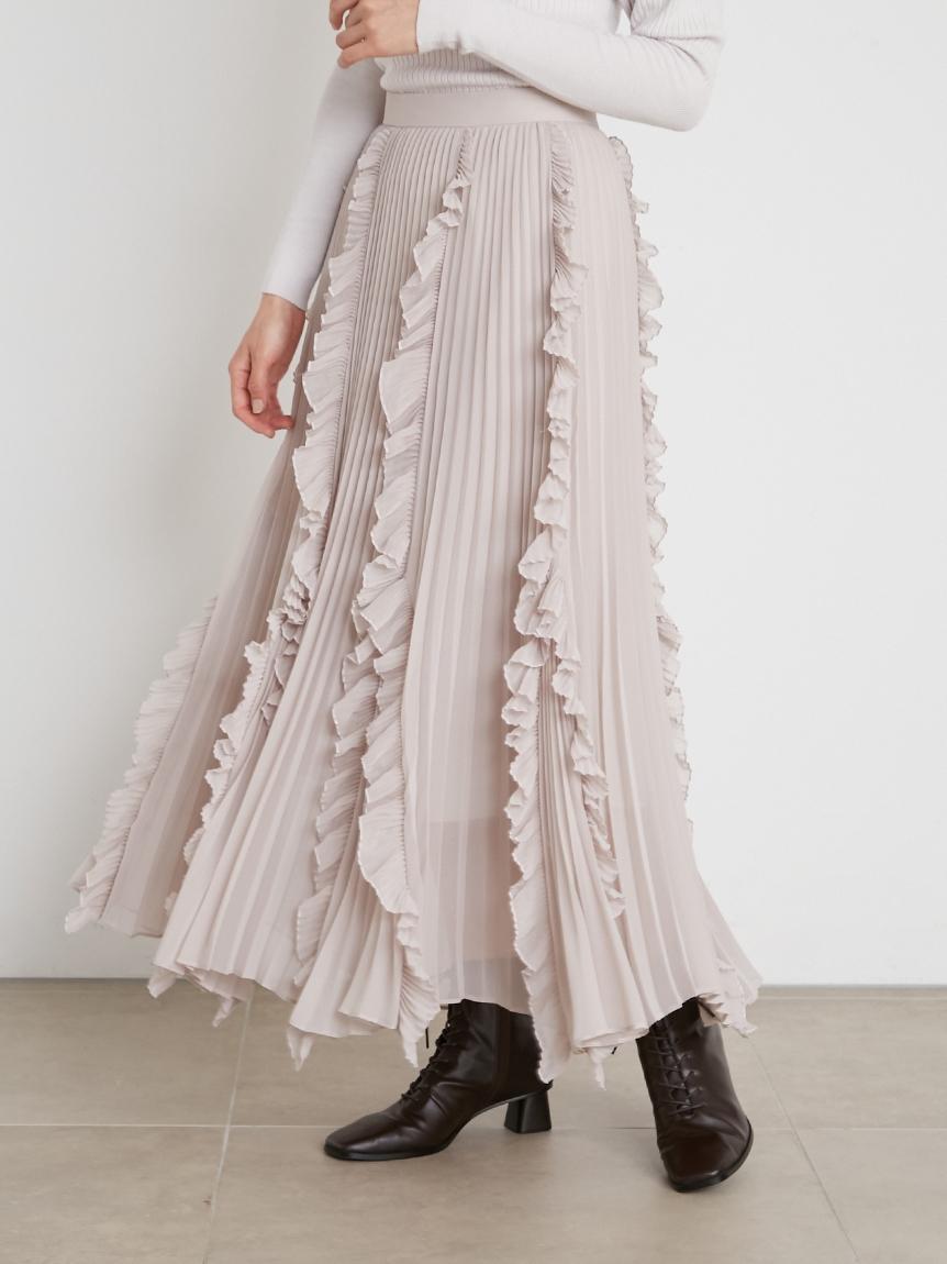 荷葉邊飾透膚百褶長裙