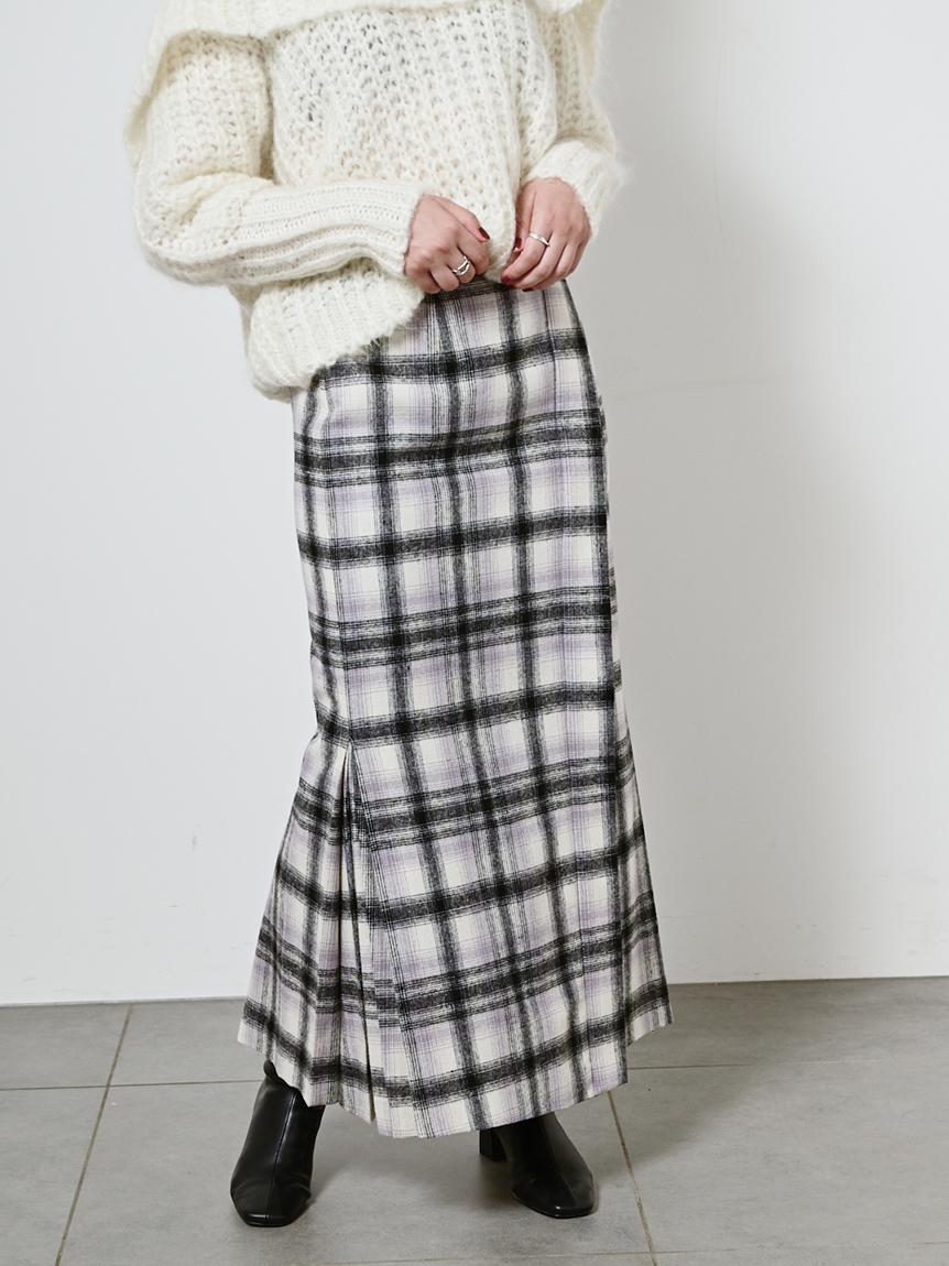 漸層格紋拼接百褶長裙