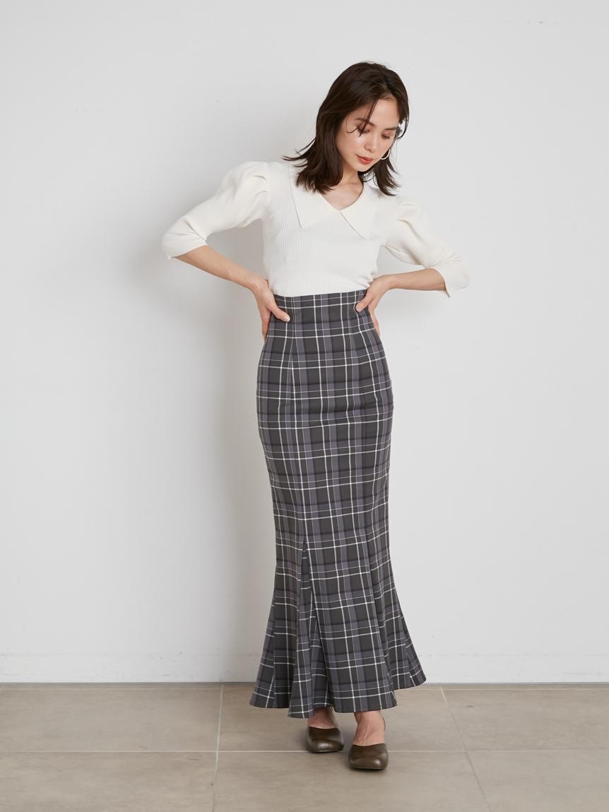 高腰格紋魚尾長裙