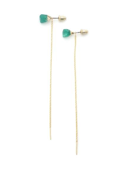 天然石垂鍊針式耳環