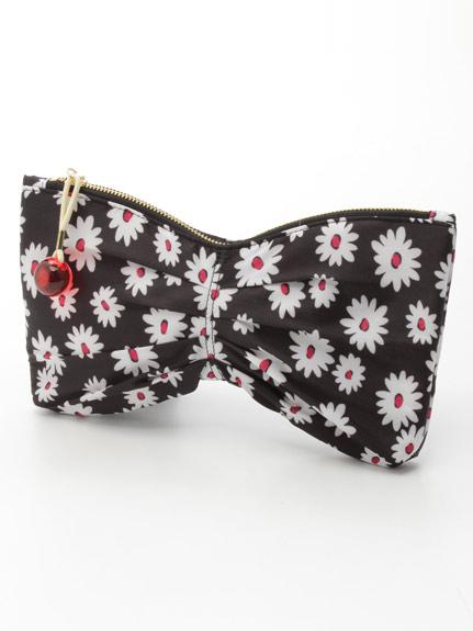 印花蝴蝶結手拿包