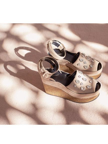 寶石露趾厚底涼鞋