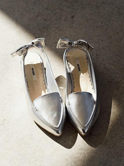 尖頭蝴蝶結低跟鞋