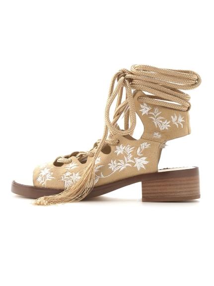 復古刺繡綁帶涼鞋