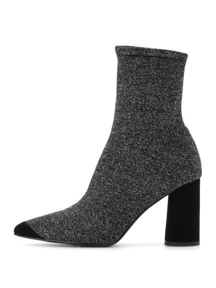 針織高跟短筒靴