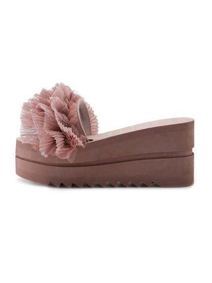 多層紗高跟拖鞋