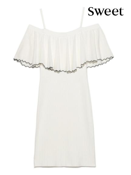 甜美荷葉針織洋裝