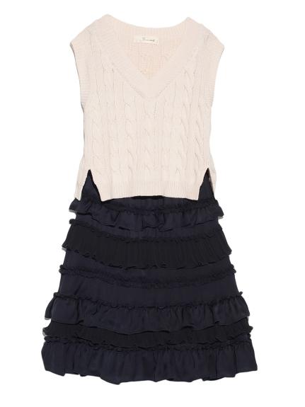 針織無袖上衣X層次造型兩件式洋裝