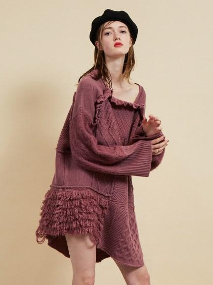 拼接麻花造型針織洋裝
