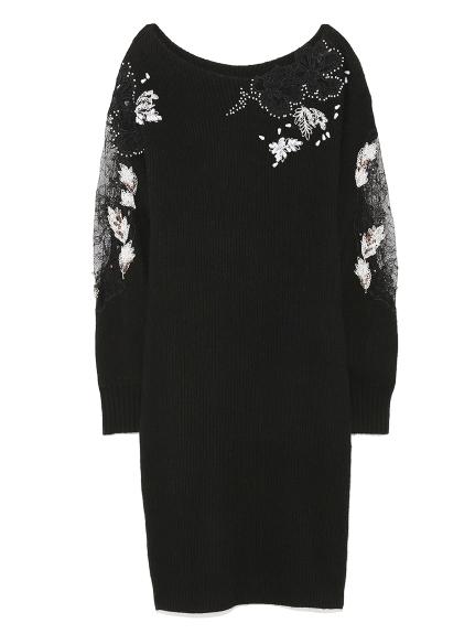 蕾絲花朵針織連身裙