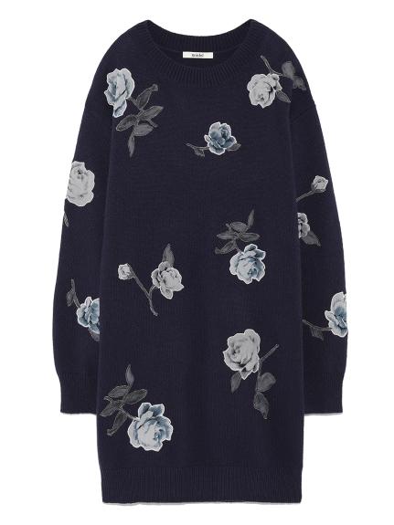 玫瑰印花針織連身裙