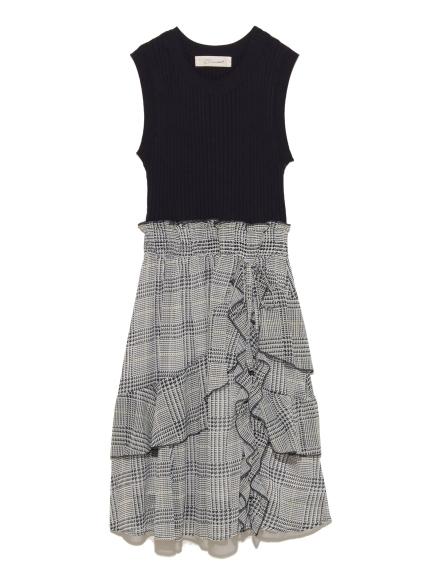 格紋拼接針織洋裝