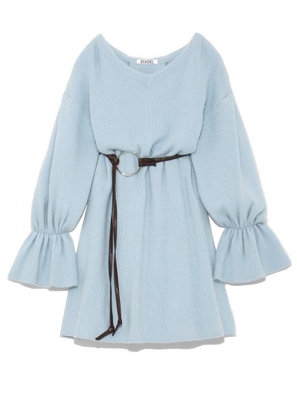 繫帶針織連衣裙