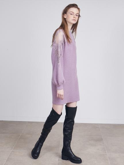 蕾絲刺繡針織連衣裙