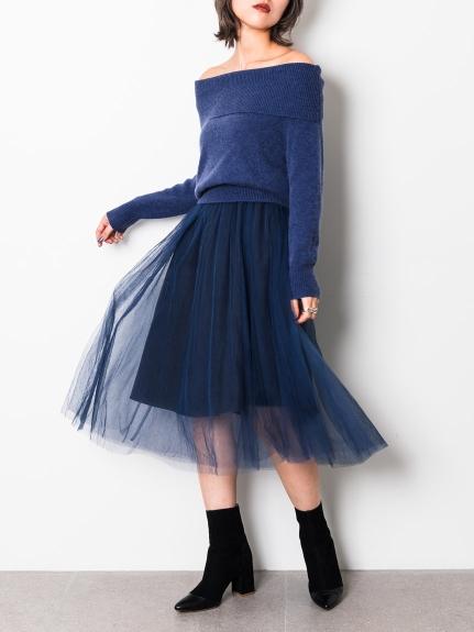 一字領針織紗裙洋裝