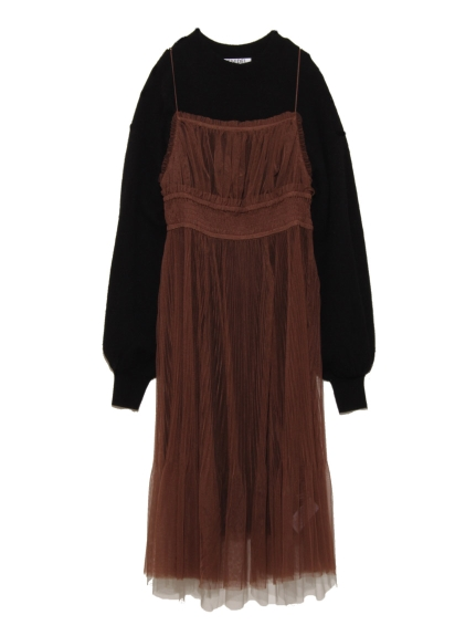 細肩薄紗層次針織洋裝