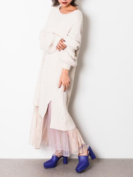 蕾絲組合針織洋裝