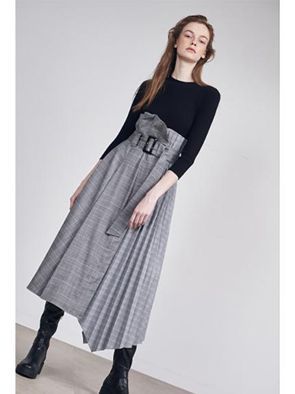 針織x 高腰長裙拼接洋裝