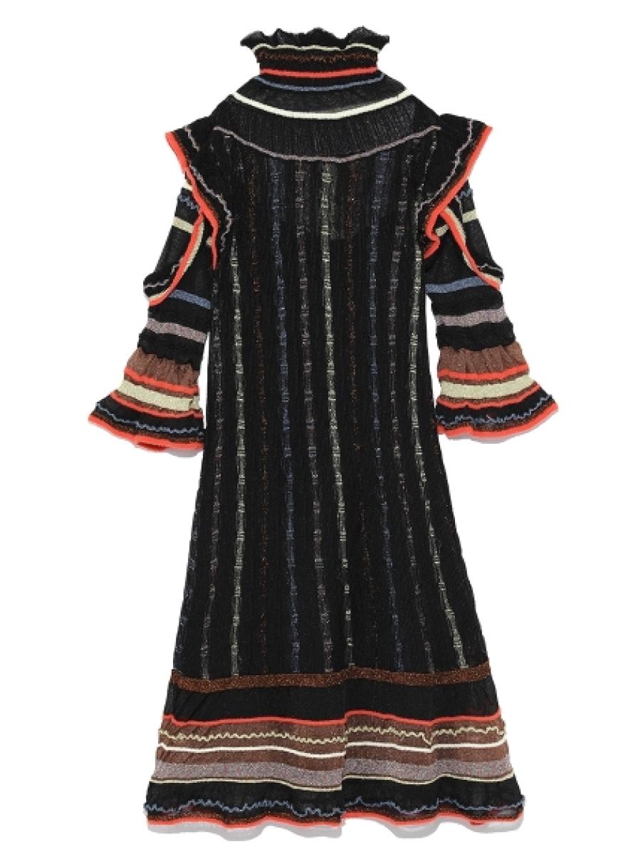 透明感荷葉針織洋裝