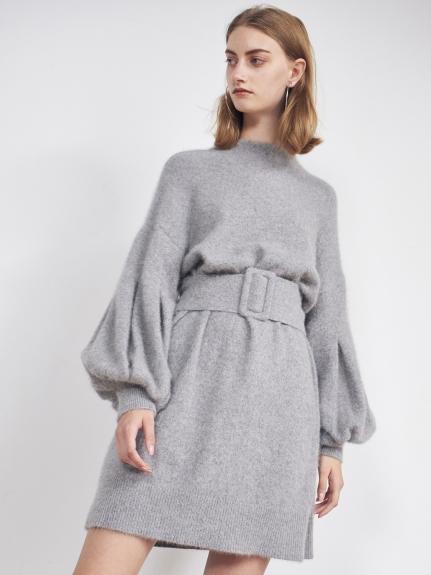 腰帶蓬袖針織連衣裙