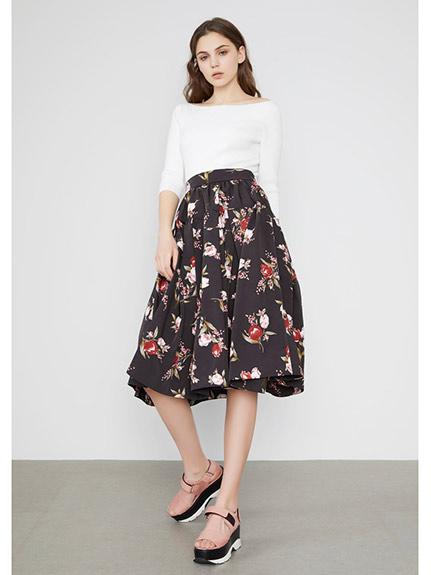 螺紋針織上衣+打摺長裙連身洋裝